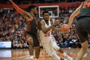 Tyus Battle drives toward the basket against Clemson