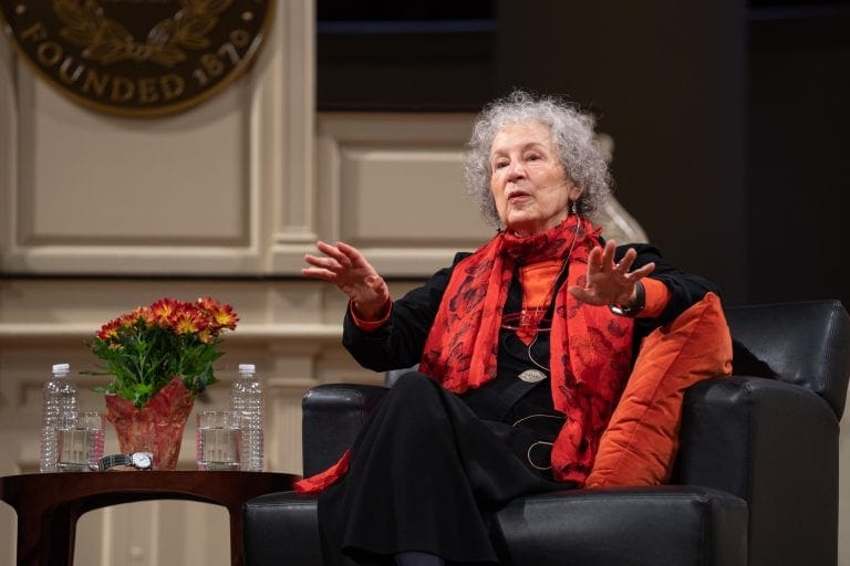 Author Margaret Atwood speaks to a Hendricks Chapel audience during her Oct. 25, 2018, University Lectures talk.