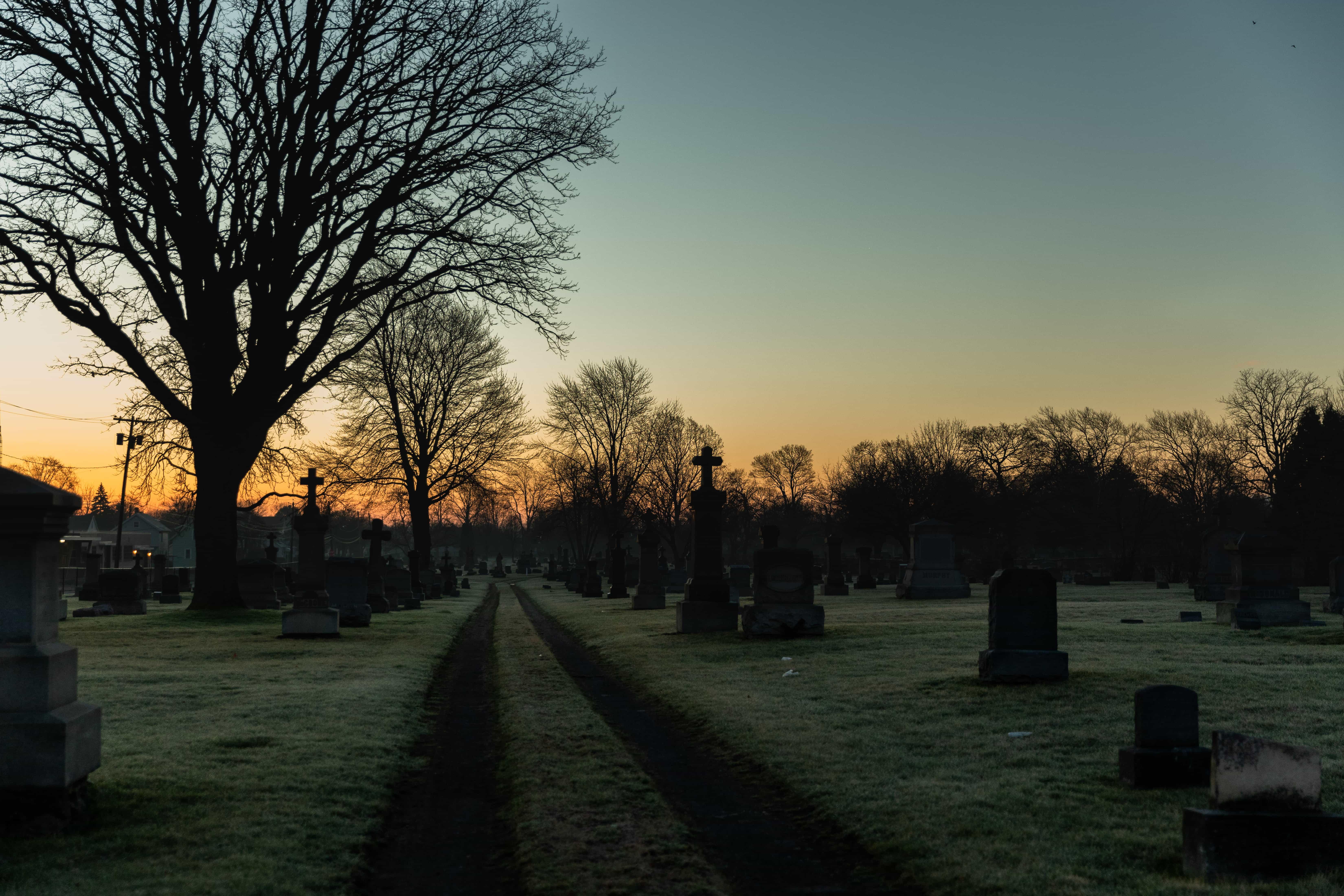 Oakwood Cemetary, in Niagara Falls, NY, as seen at dawn.