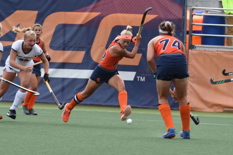 Charlotte De Vries sends the ball across the field for a Syracuse gain at the SU Soccer Stadium on Sept 13, 2019.