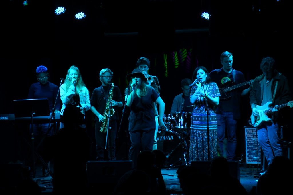 Sarah Gross and her band perform at Funk N' Waffles to celebrate the release of Gross's new single,