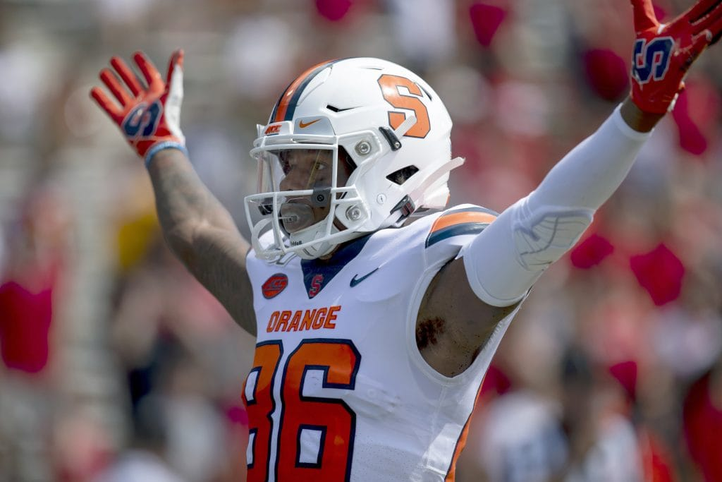 Syracuse wide receiver Trishton Jackson celebrates SU's first touchdown of the game vs. Maryland
