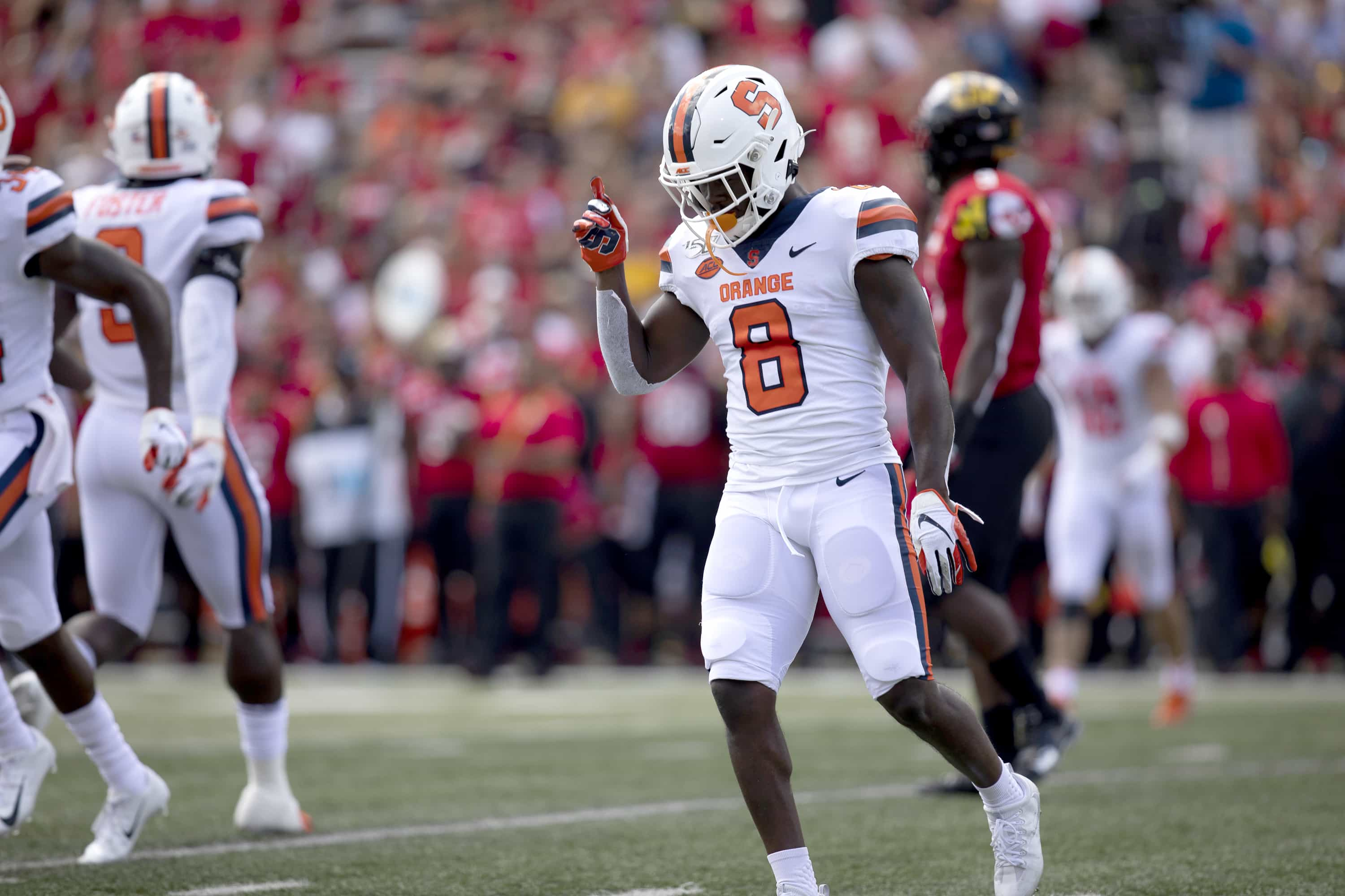 Syracuse defensive back Antwan Cordy celebrates a play against Maryland.