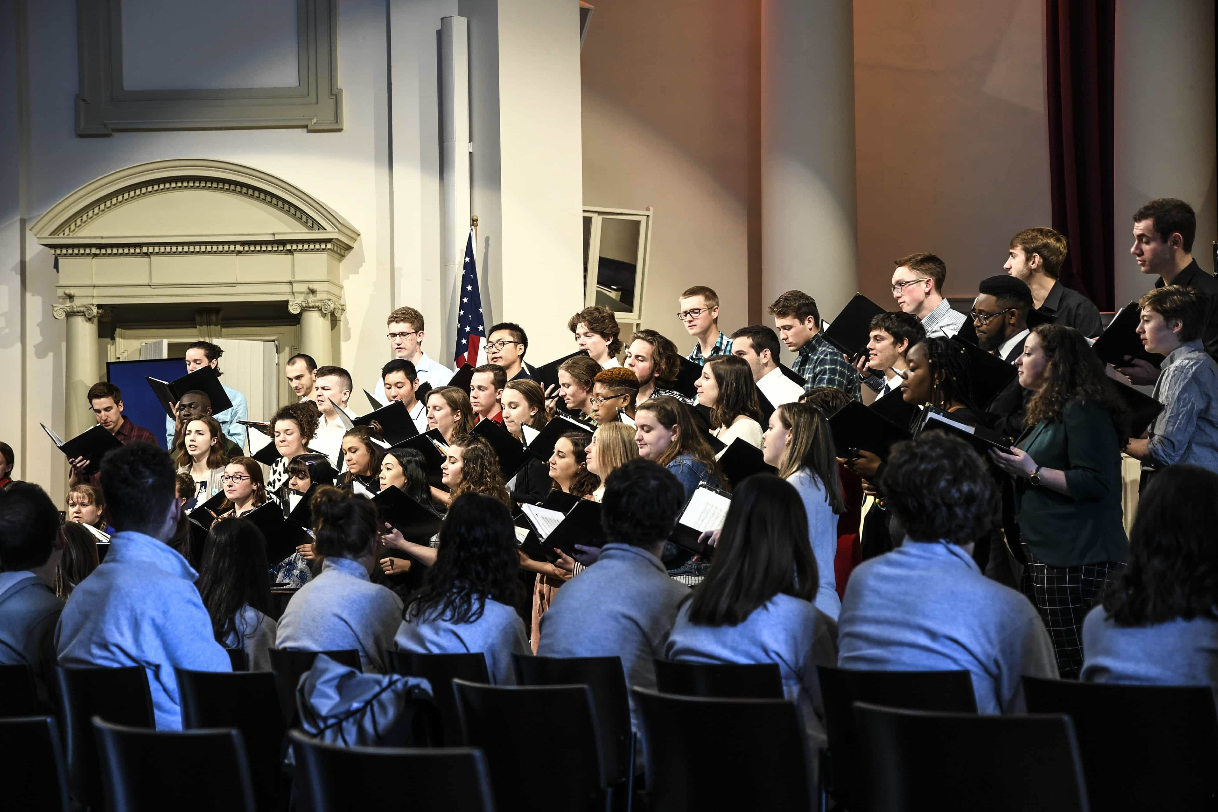 The Hendricks Chapel choir sang a mix of somber and upbeat tunes at