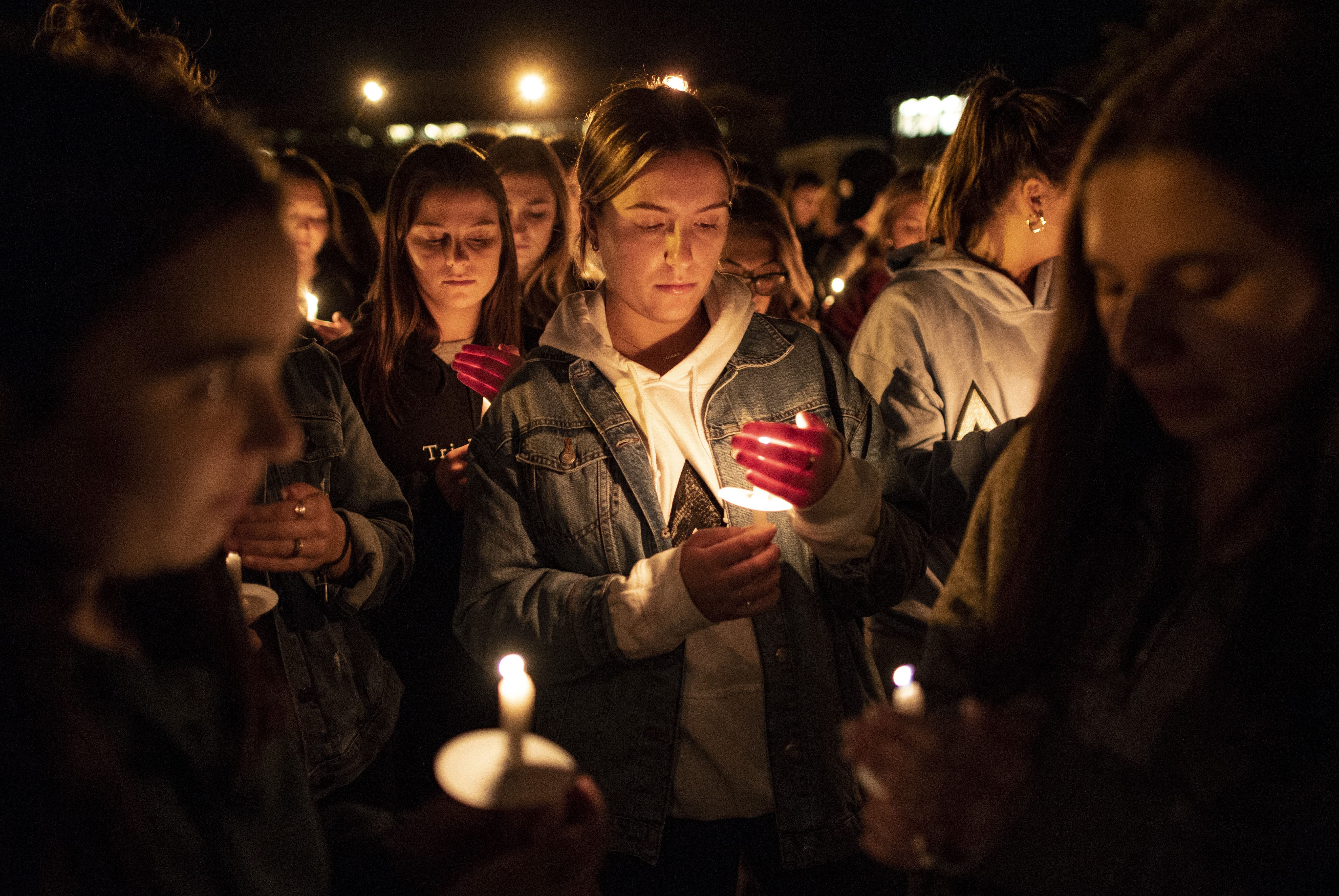 Gianna Prudente holds a candle at the Safe Driving Vigil sponsored by both Phi Kappa Psi and Delta Delta Delta Monday evening outside Hendricks Chapel.
