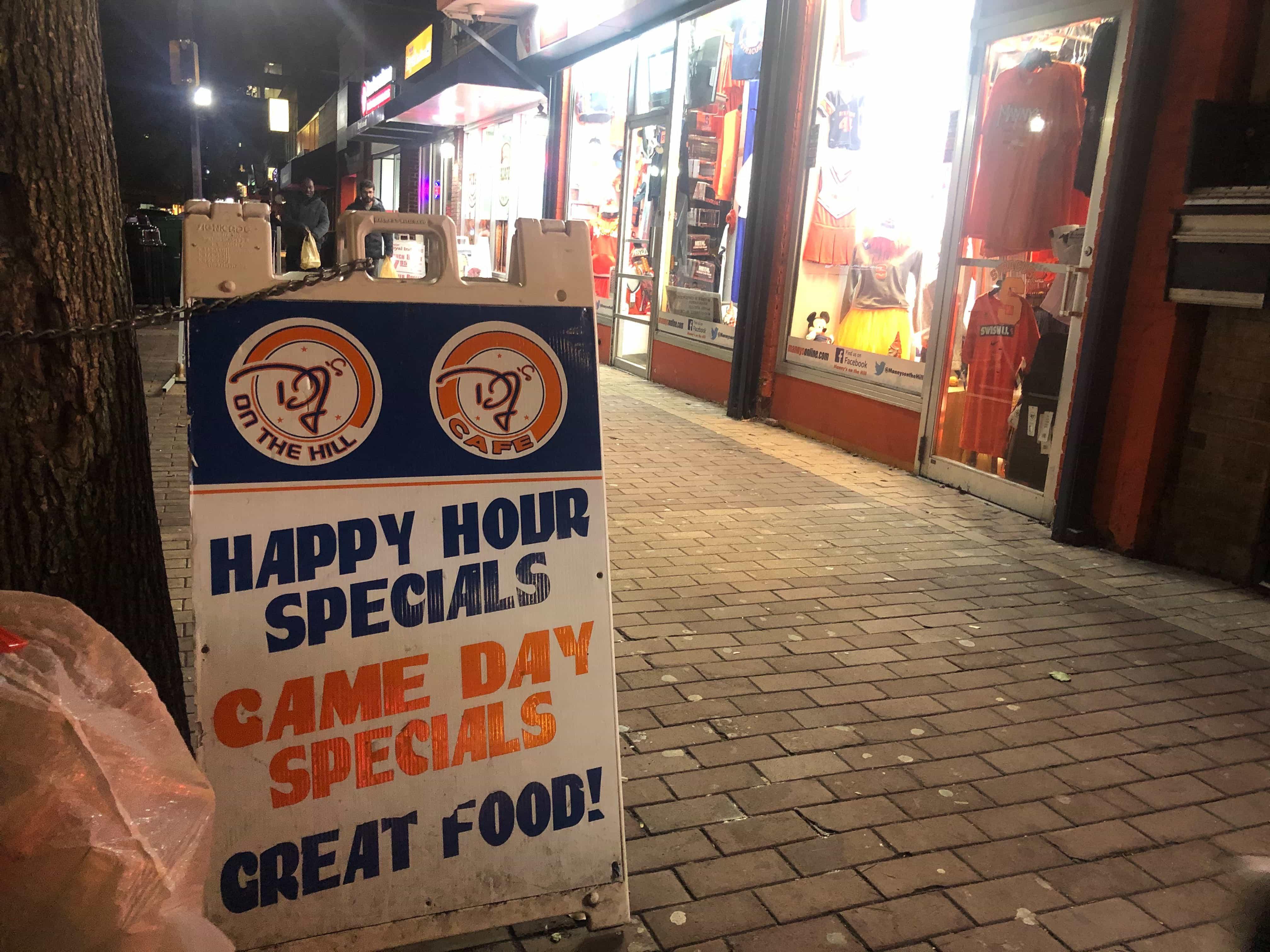 DJ's on the HIll sign on Marshall Street