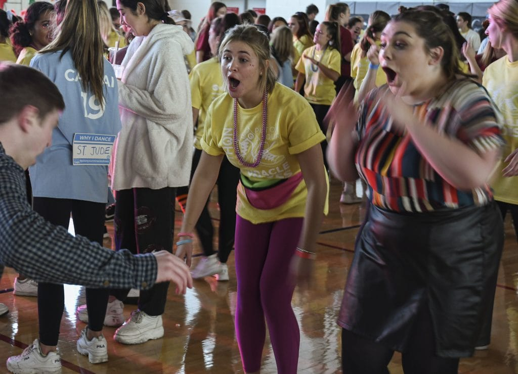Across Flanagan Gym different danceoffs broke out throughout the day at Ottothon 2019. Students could dance for the 12 hours, but had to remain standing.