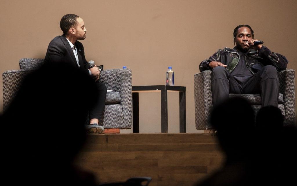 Hip-hop artist Pusha T speaks at Goldstein Auditorium on Nov. 1, 2019.