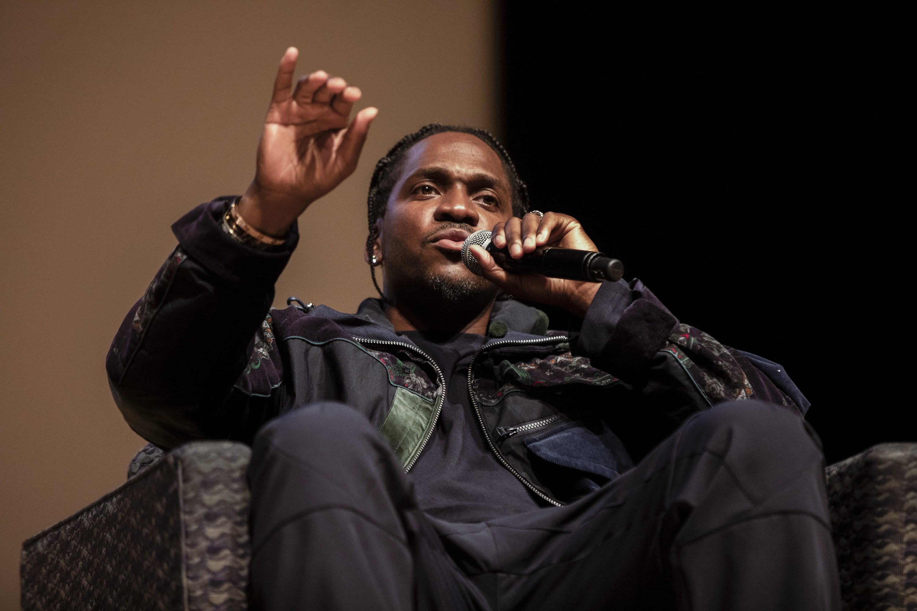 Hip-hop artist Pusha T speaks at Goldstein Auditorium on Nov. 1, 2019.