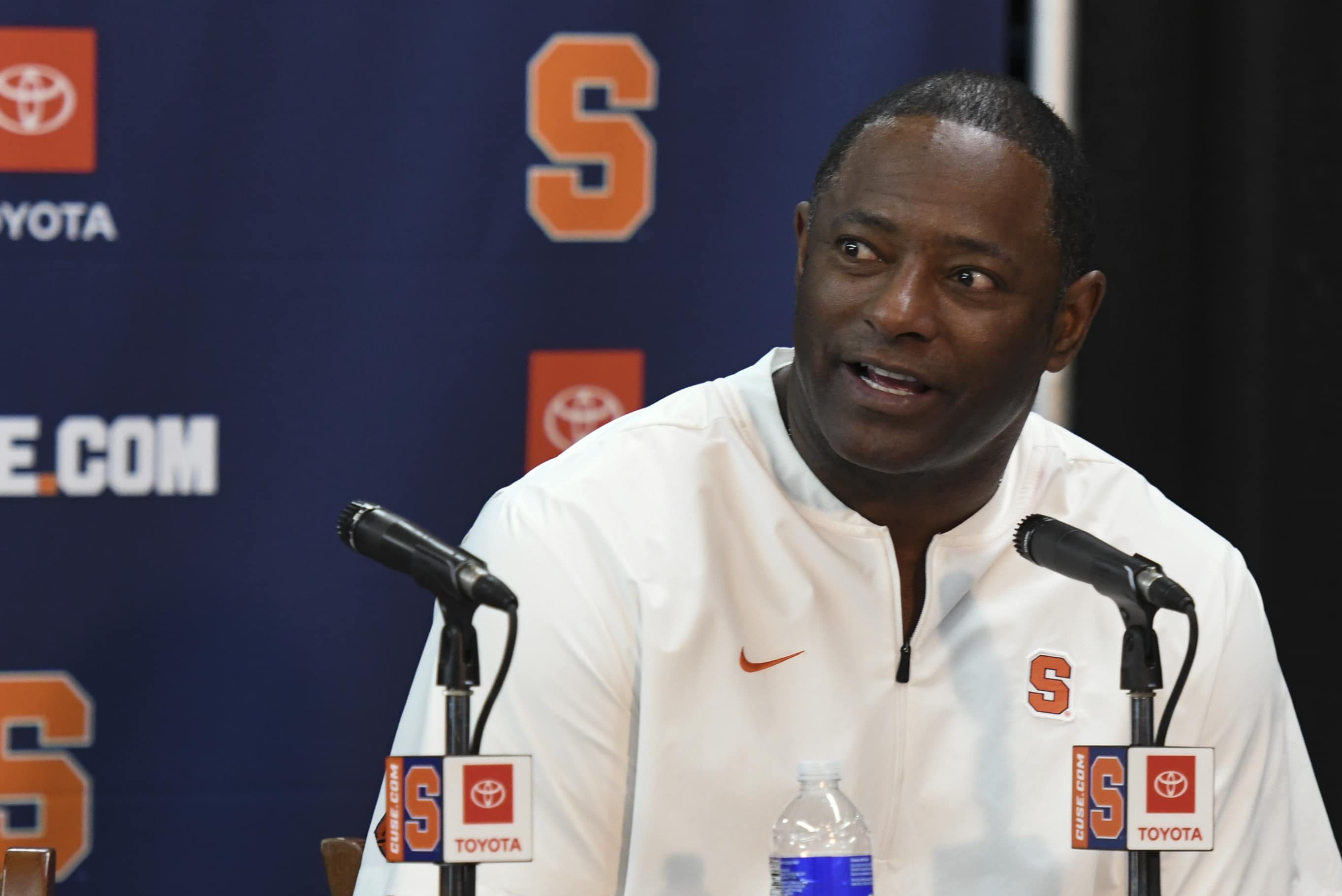 Coach Dino Babers answers a question in his last press conference of the season in Syracuse, N.Y., Saturday, Nov. 30, 2019. Syracuse beat Wake Forest 39-30 in overtime.