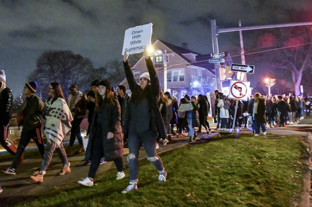 #NotAgainSU students lead a march across campus after storming out of Wednesday's Hendricks Chapel forum.