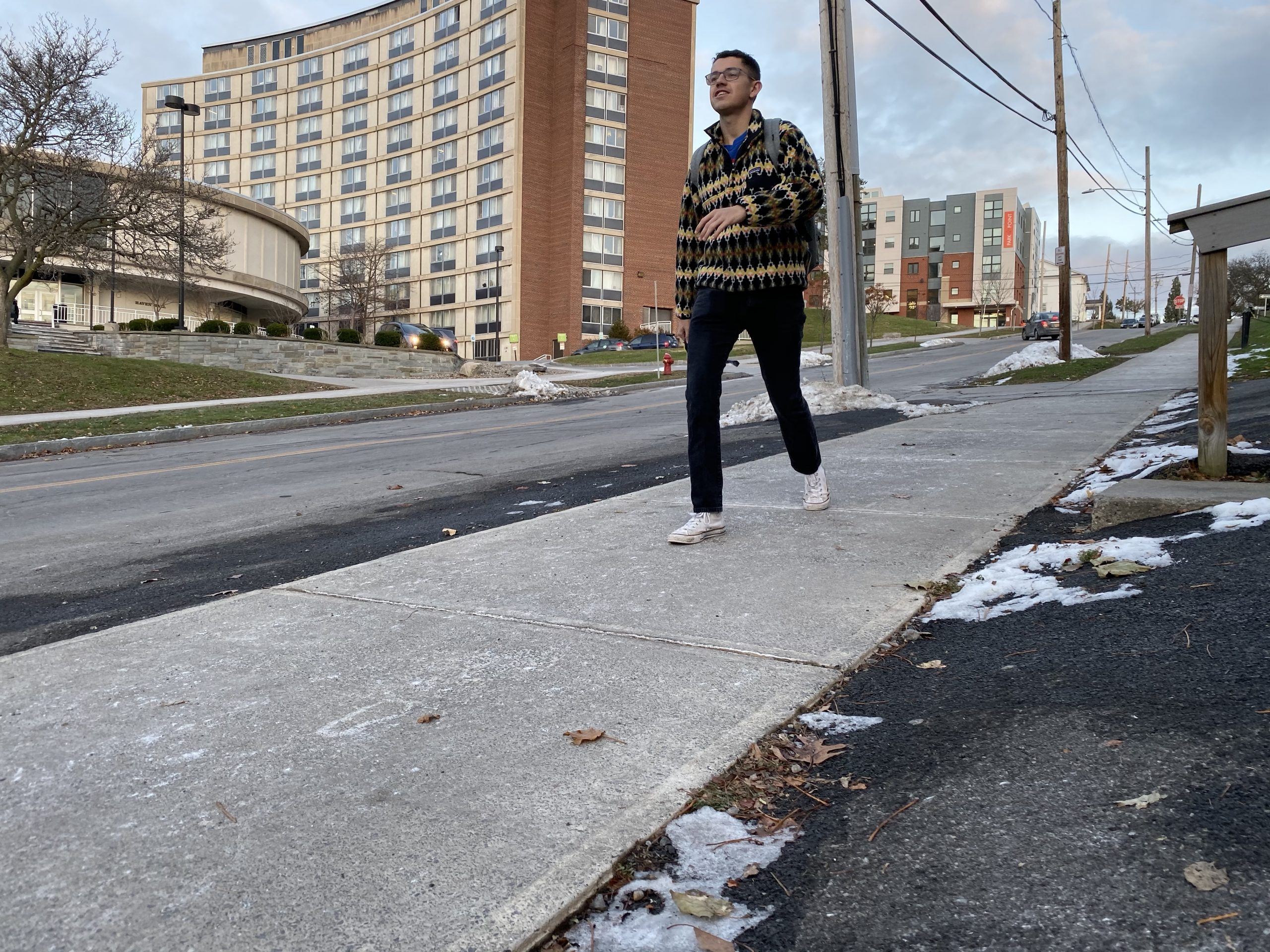 Sidewalk quality is especially a concern around city schools and the university, where they are well tread and weathered.