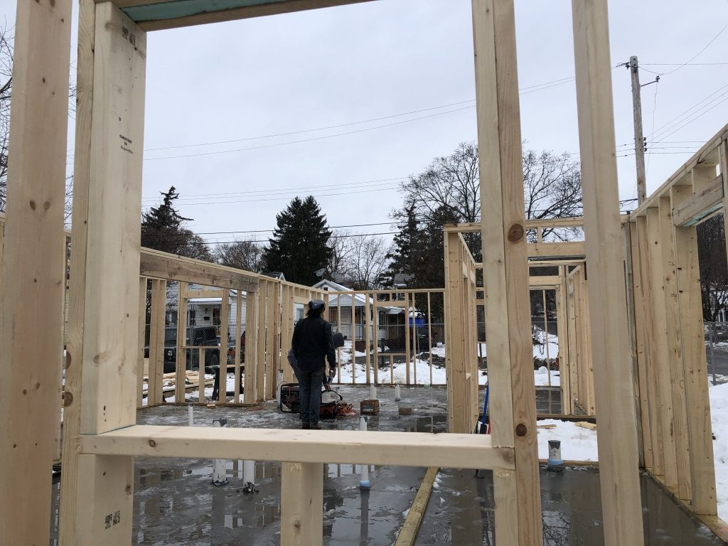 The newest construction site of more small homes to benefit the homeless courtesy of A Tiny Good Home project