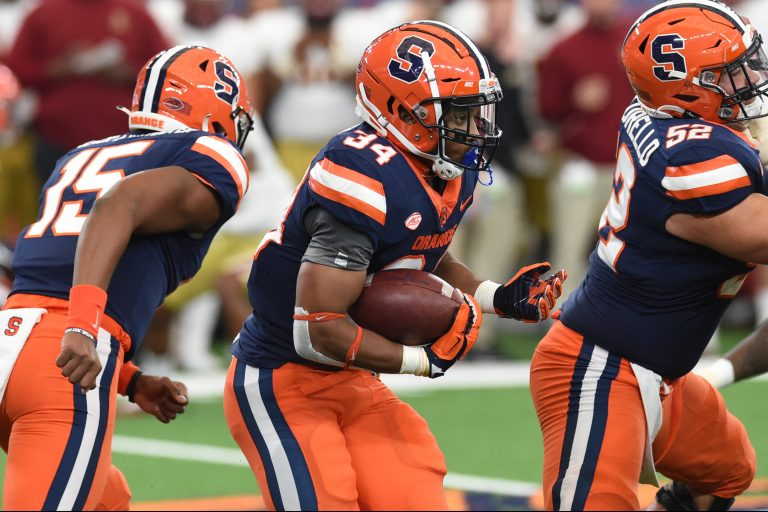Syracuse Orange running back Sean Tucker (34) during a game against Boston College on Saturday, Nov. 7, 2020, at the Carrier Dome in Syracuse, N.Y.