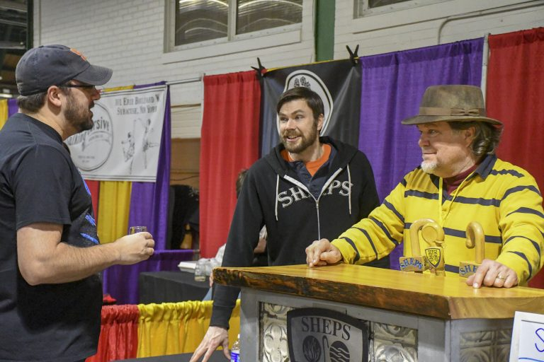 SHEPS Brewery talks with fellow beer lovers at the CNY Brewfest.