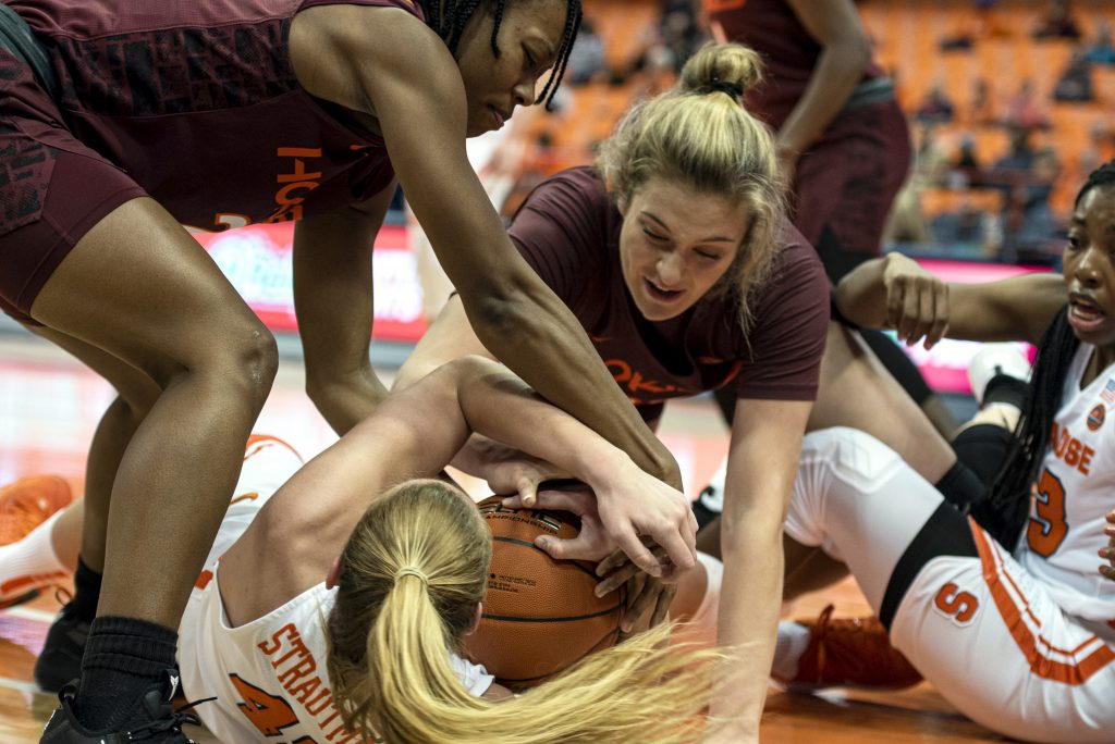 Syracuse forward Digna Strautmane fights for the ball