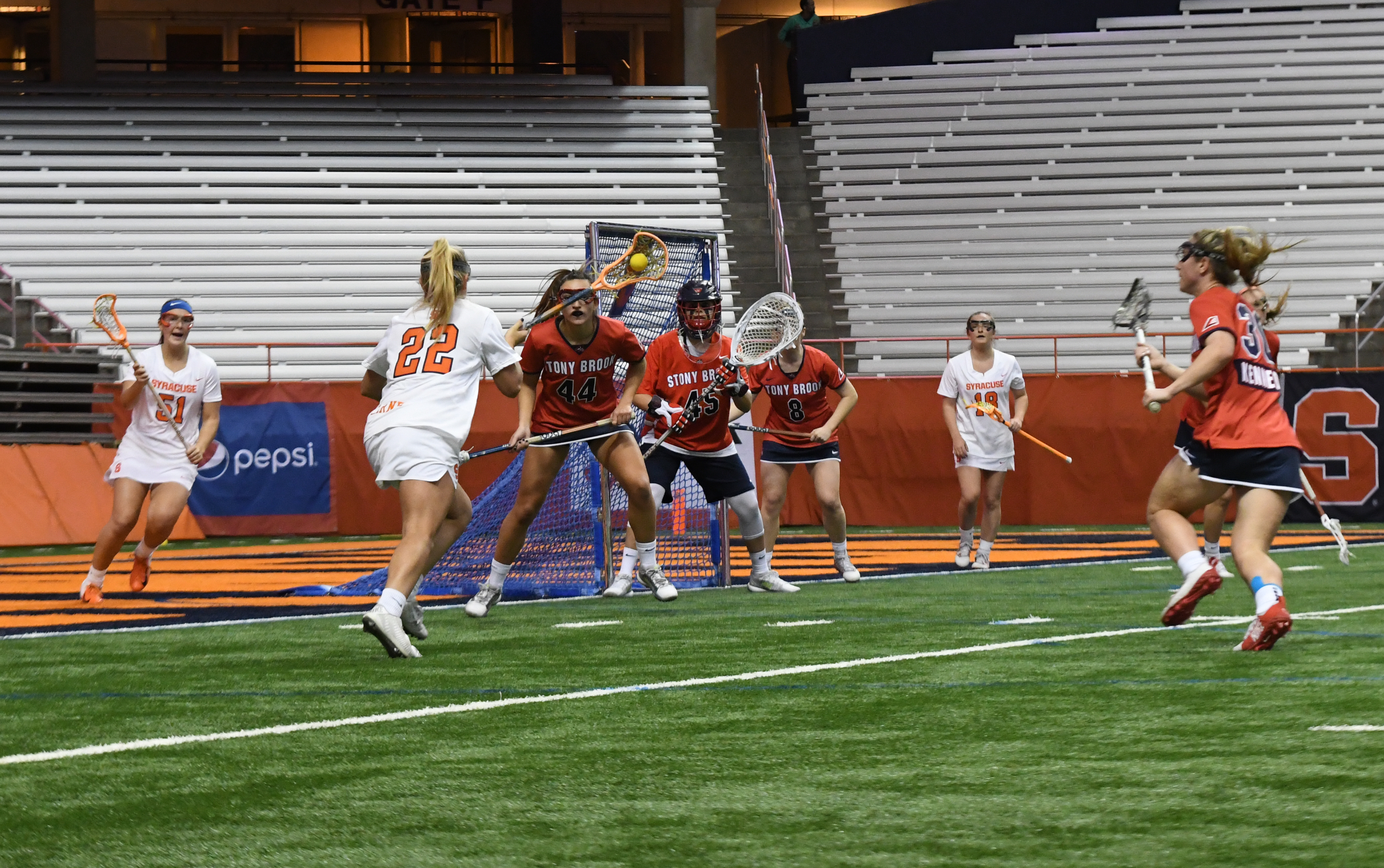 SU's Megan Carney runs toward the goal in the first half of Monday's game vs. Stony Brook. The sophomore tallied 7 shots and notched a pair of assists.