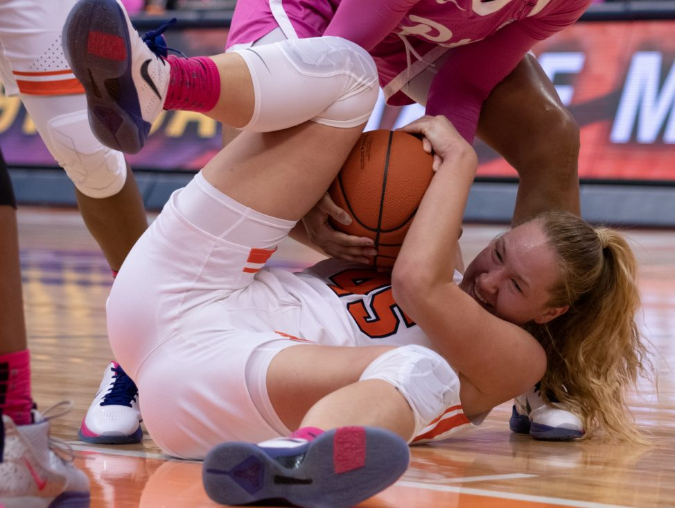 Syracuse University's forward, Digna Strautmane, 45, fights for the basketball during a college basketball game against the University of Pittsburgh on February 16, 2020.