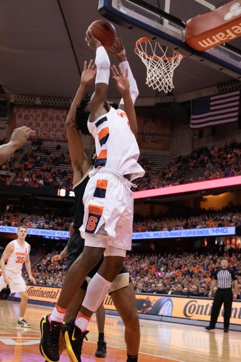 Syracuse forward Quincy Guerrier, 1, attempts to score a lay up against Wake Forest during the first half of a college basketball game on February 8, 2020.