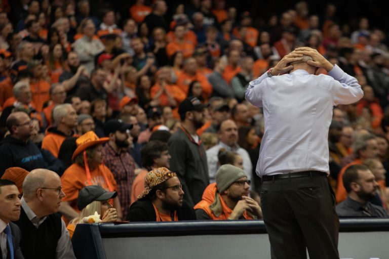 Syracuse Men's Basketball head coach Jim Boeheim shows frustration during the Feb. 11 game vs. NC State Wolfpack in the Carrier Dome.