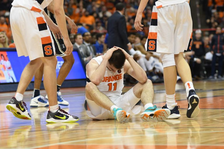 Joseph Girard III reacts during the second half of the game vs Duke at the Carrier Dome on Feb. 1, 2020.