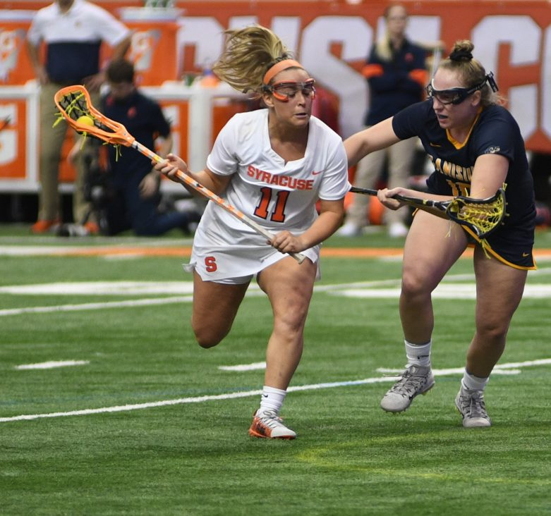 SU's Vanessa Costantino tries to get around Canisius's Skylar Mcarthur during the game at the Carrier Dome on Feb. 7, 2020.