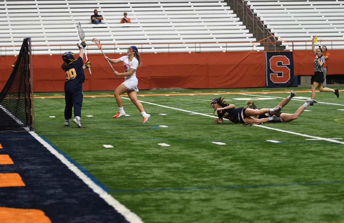 Emily Hawryschuk scores one of her seven goals during the game at the Carrier Dome on Feb. 7, 2020.