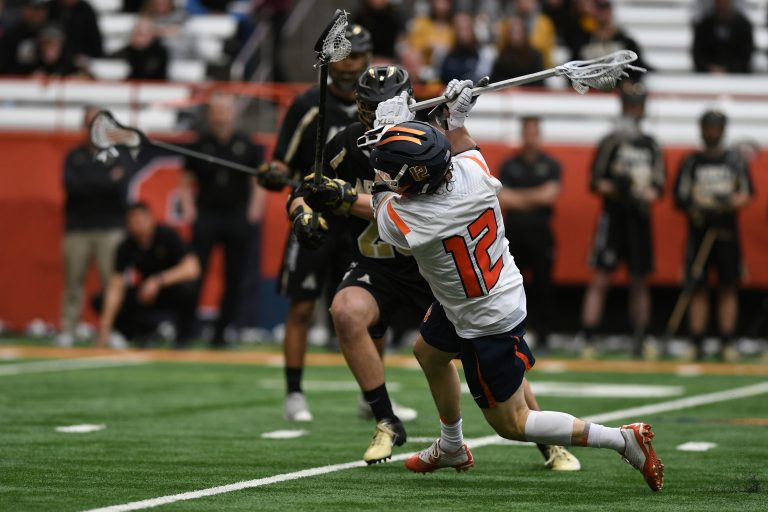 Jamie Trimboli winds up to shoot during the game at the Carrier Dome on Feb. 23, 2020. He led the game with 5 goals.