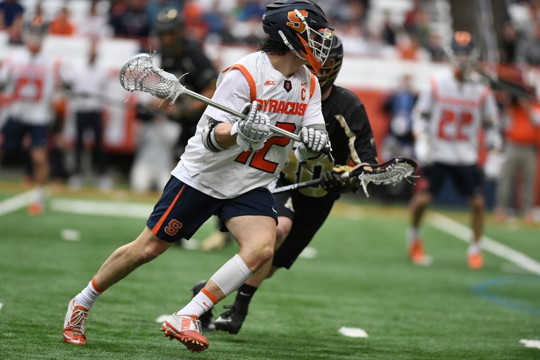 Syracuse's Jamie Trimboli looks to shoot during the game at the Carrier Dome on Feb. 23, 2020. He led the game with 5 goals.