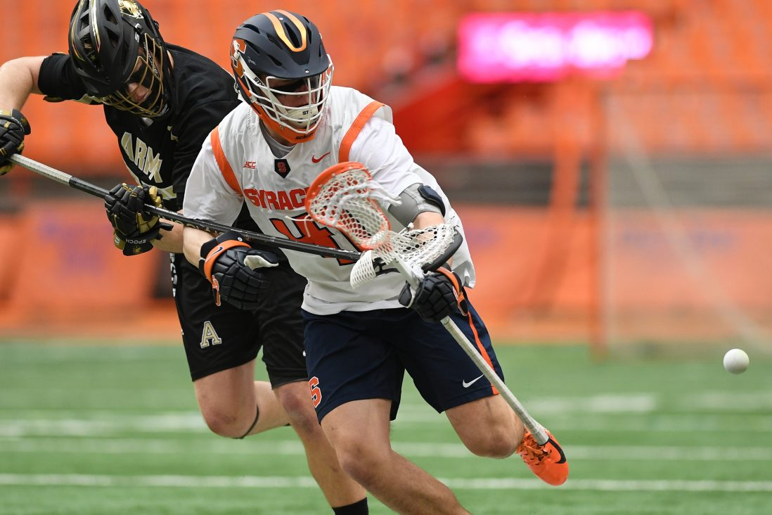 Army's Kyle Beyer and Syracuse's Brett Barlow fight for a loose ball during the game at the Carrier Dome on Feb. 23, 2020.