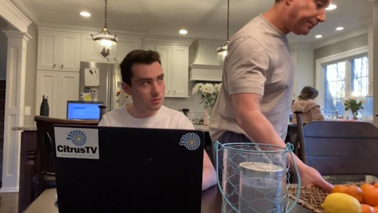 BDJ freshman Josh Meyers working from home in Livingston, New Jersey during the coronavirus pandemic