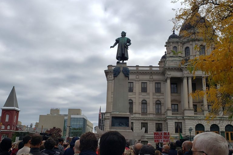 Syracuse residents gather that Columbus Circle statue downtown for Columbus Day/Indigenous Peoples Day in October 2020