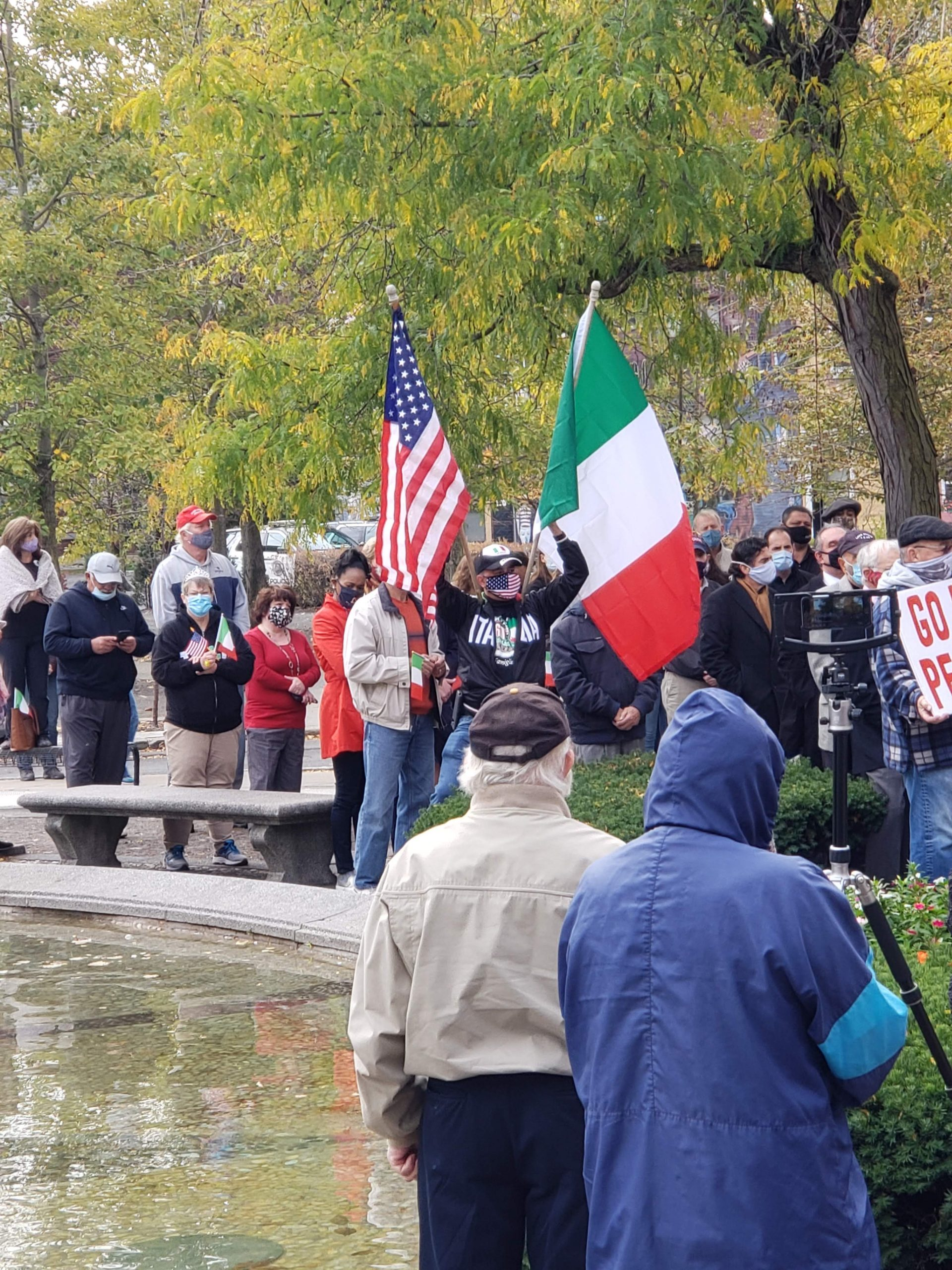 Italian-Americans protested against Mayor Walsh's decision to remove the Christopher Columbus statute at the annual wreath laying ceremony in 2020.