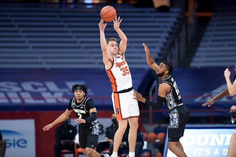 The Syracuse Orange man's basketball team take on the Georgetown Hoyas Saturday Jan. was 9, 2021 at the Carrier Dome in Syracuse New York. Dennis Nett | dnett@syracuse.com