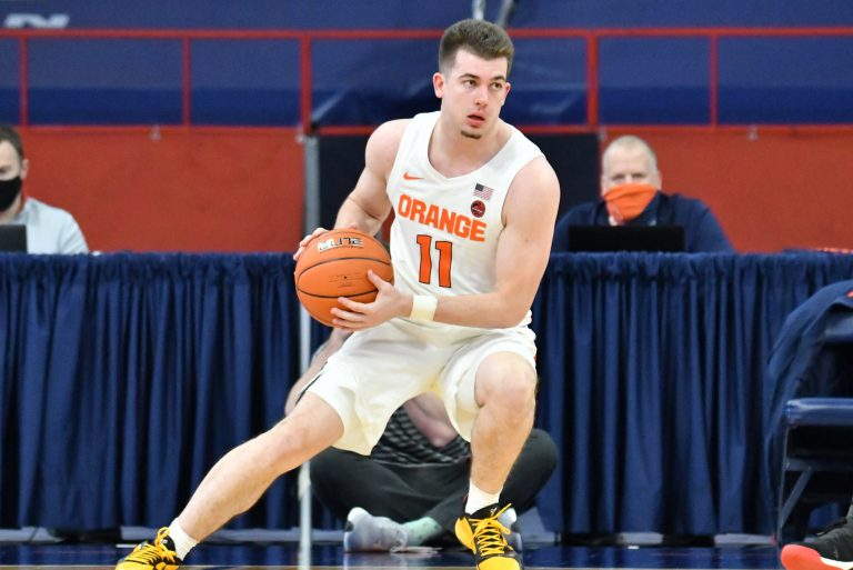 Jan 31, 2021; Syracuse, New York, USA; Syracuse Orange guard Joseph Girard III (11) handles the ball in the first half against the North Carolina State Wolfpack at the Carrier Dome. Mandatory Credit: Mark Konezny-USA TODAY Sports