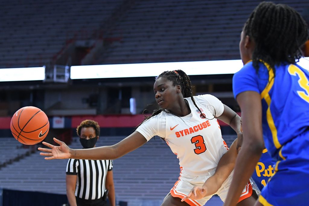 Jan 28, 2021; Syracuse, New York, USA; Syracuse Orange forward Maeva Djaldi-Tabdi (3) reaches to save a loose ball from going out of bounds against the Pittsburgh Panthers during the first half at the Carrier Dome. Mandatory Credit: Rich Barnes-USA TODAY Sports