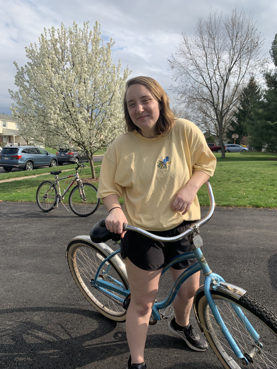 Allison Ingrum on bike in the Philadelphia suburbs
