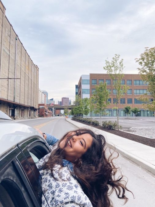Becca Sigma, a sophomore studying public health, in her hometown of Pittsburgh.