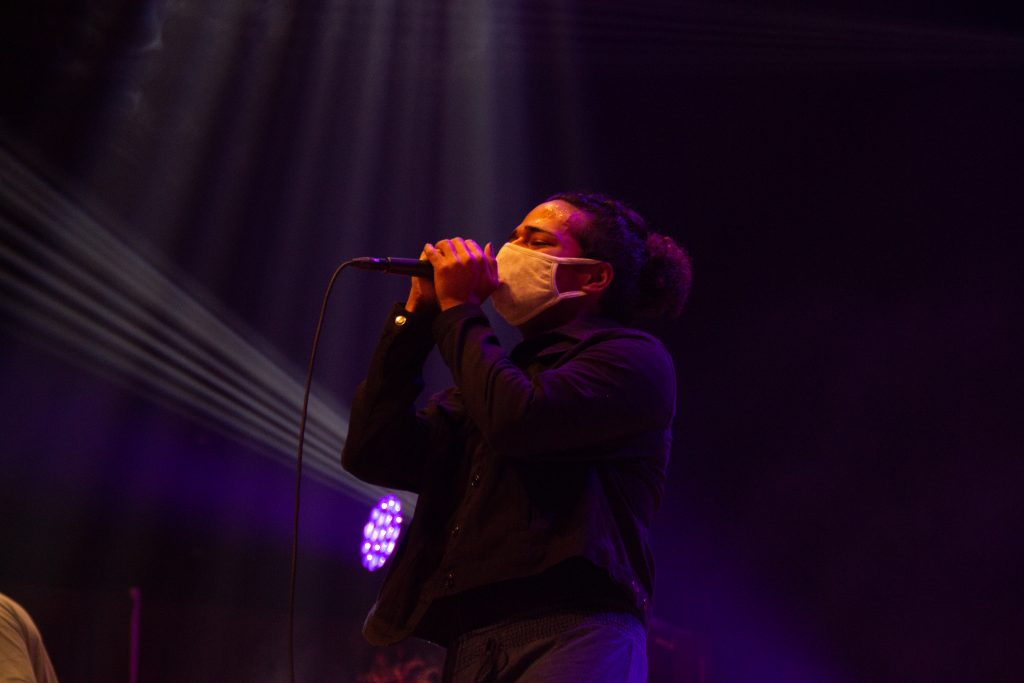 SYRACUSE, NY APRIL 3, 2021: Anish Ghosh performs on stage with his last-minute band at Goldstein Auditorium. Photo by Maddie Crooke