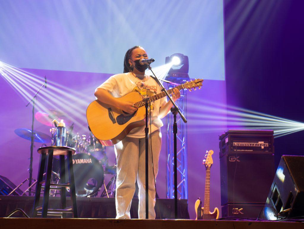 BRI performs on stage at Goldstein Auditorium.