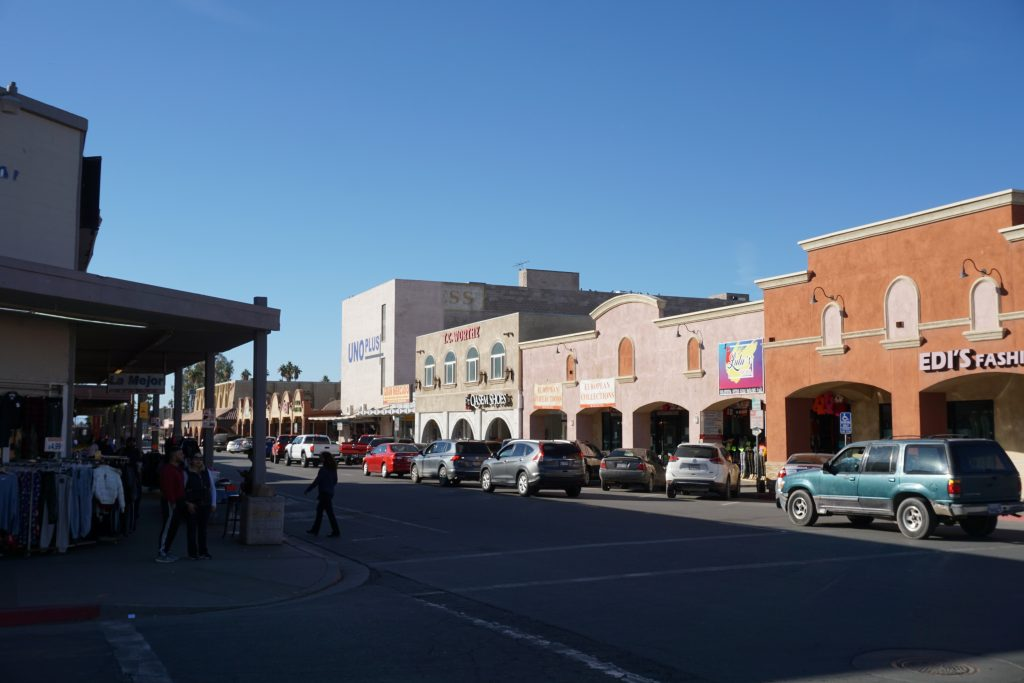 East 1st Street which runs parallel to the Calexico-Mexicali border is lined with clothing boutiques and duty-free shops.