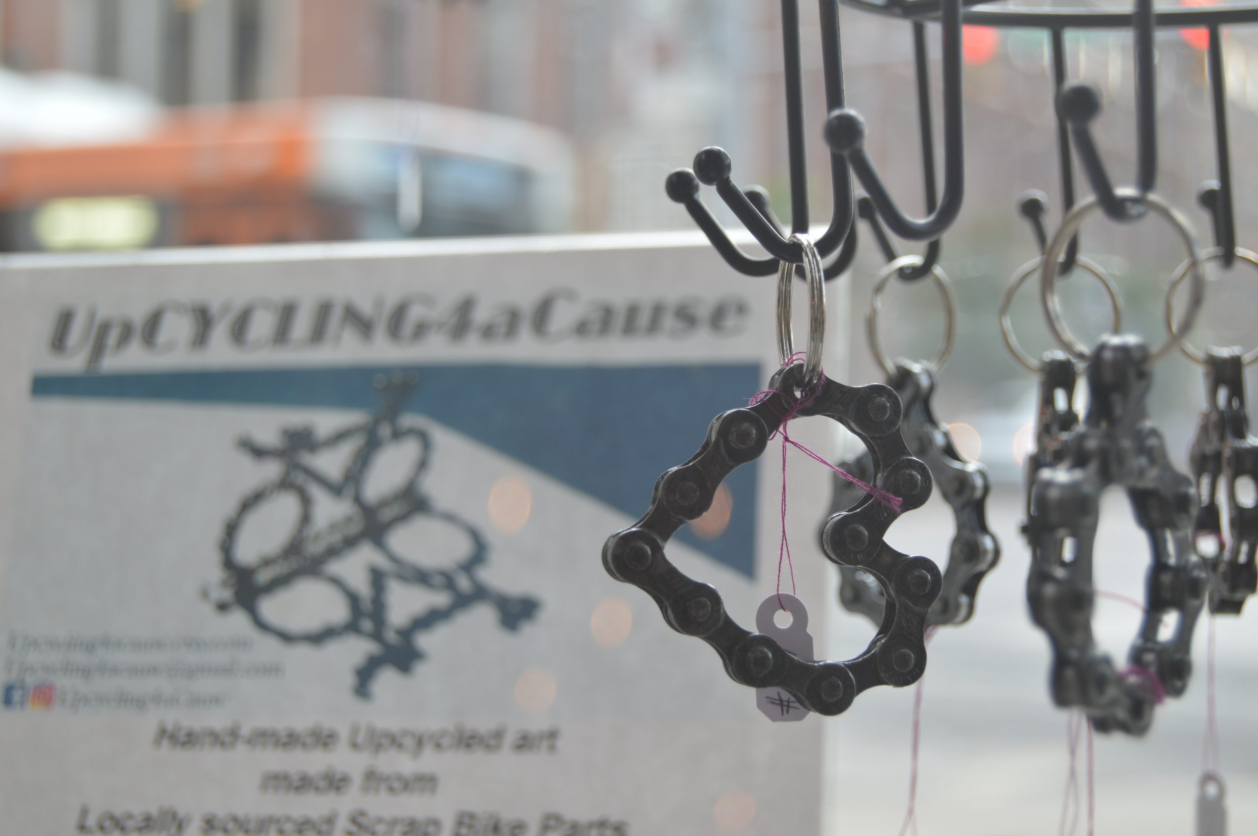 Rob Niederhoff of UpCycling4aCause uses old bike parts to create a variety of new products.