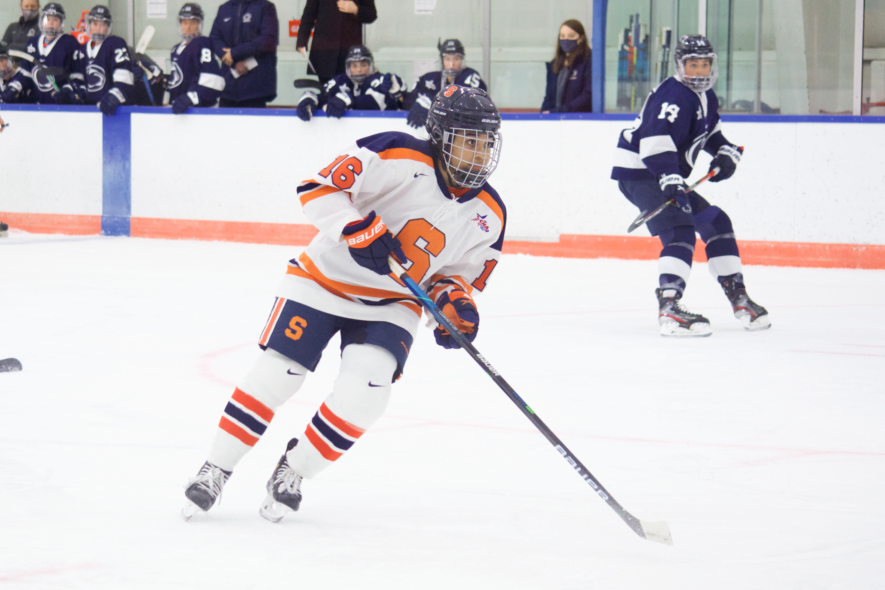 Syracuse freshman Rayla Clemons travels down ice during the Orange's game against Penn State on Dec. 12, 2020.