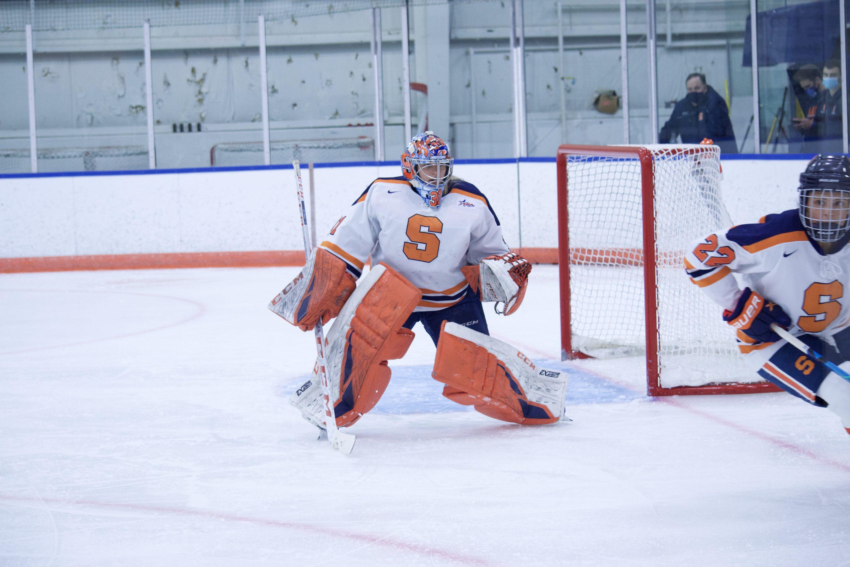 Allison Small of Syracuse Women's Ice Hockey celebrates vs. Robert Morris
