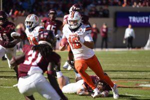 Syracuse quarterback Garrett Shrader makes a run vs. Virginia Tech Hokies on Oct. 23, 2022 at Lane Stadium in Blacksburg, Va.