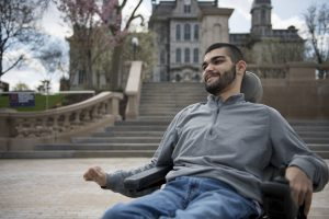 Joey Pagano poses for a portrait in front of the Hall of Languages on the Syracuse University campus. Pagano majors in journalism at the S.I. Newhouse School of Public Communications and is from Fayetteville, NY.