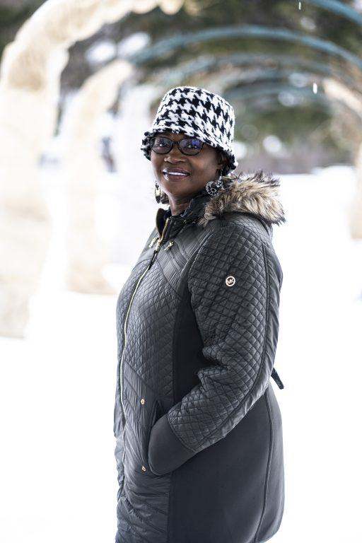 Rhonda Rowser smiles on a wintery day.