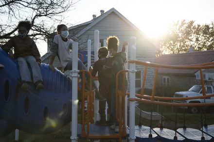 From left to right, Jayden King (13), Jewel Pierce (14), Caspian Pierce (10), and Javonte (14) are aware of the inequality of the Syracuse City School Districts. They know their neighbors do not always have adult supervision to monitor or help them with virtual schoolwork because their parents and or guardians are at work.