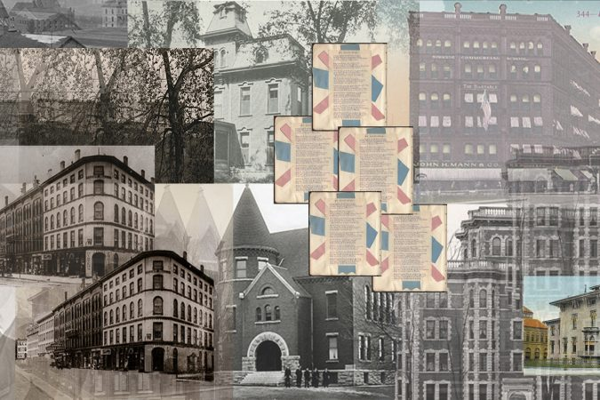 A collage of the Syracuse University's original buildings. The history of how the University got this land from the indigenous people is murky and controversial. In the years since, SU has tried to justify taking this land by creating the Promise Scholarship. This is one of the few opportunities open to only native students.