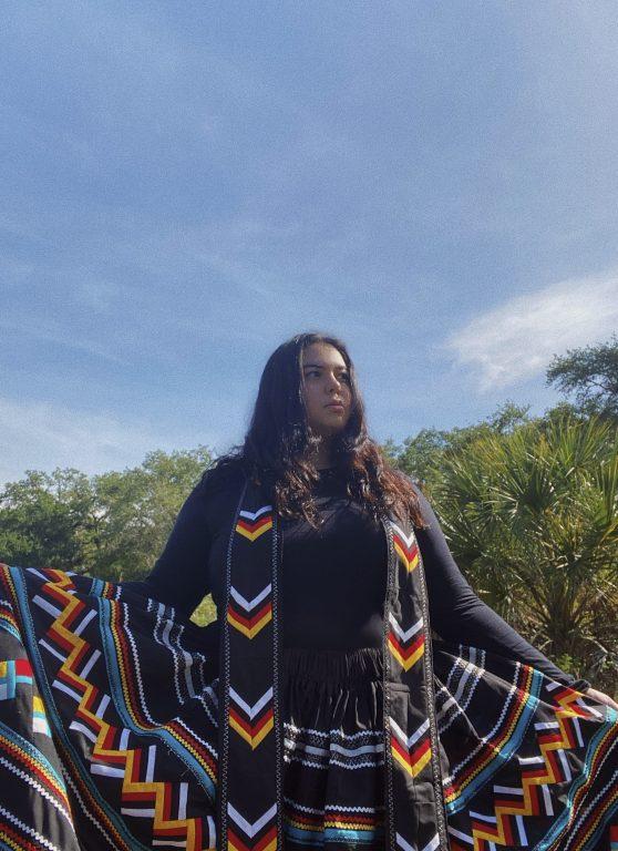 Alycia Cypress in Seminole skirt